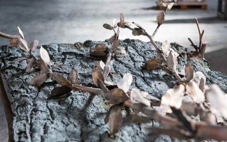 Giuseppe Penone, Pensieri di foglie (Thoughts of Leaves) (2017) (detail). Bronze and river stone. 71 5/8 × 77 3/4 × 37 1/4 inches / 182 × 197.5 × 94.5 cm. © 2019 Giuseppe Penone/Artists Rights Society (ARS), New York/ADAGP, Paris.