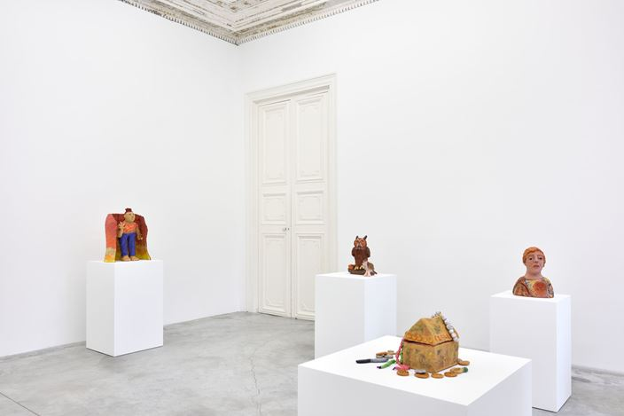 Exhibition view: Sally Saul, Hideout, Almine Rech, Paris (18 January–29 February 2020). © Sally Saul. Courtesy the Artist and Almine Rech. Photo: Rebecca Fanuele.