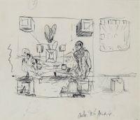 Galatée en formation (recto) / La Cène (verso) by Salvador Dalí contemporary artwork works on paper, drawing
