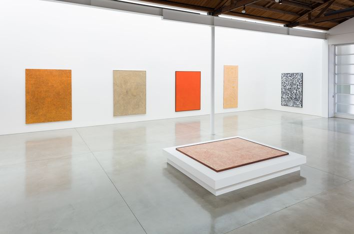 Exhibition view: Group Exhibition,Desert Painters of Australia Part II, Gagosian, Beverly Hills (26 July–6 September 2019).Artwork, left to right: © Yukultji Napangati/Copyright Agency. Licensed by Artists Rights Society (ARS), New York, 2019; © Warlimpirrnga Tjapaltjarri/Copyright Agency. Licensed by Artists Rights Society (ARS), New York, 2019; © Ronnie Tjampitjinpa/Copyright Agency. Licensed by Artists Rights Society (ARS), New York, 2019; © George Tjungurrayi/Copyright Agency. Licensed by Artists Rights Society (ARS), New York, 2019; © Tjumpo Tjapanangka/Copyright Agency. Licensed by Artists Rights Society (ARS), New York, 2019; © Emily Kame Kngwarreye/Copyright Agency. Licensed by Artists Rights Society (ARS), New York, 2019. Photo: Fredrik Nilsen.