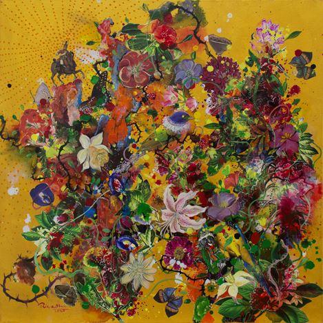 Priyantha Udagedara,Serendib 6,Mixed Media on Canvas, 60cm x 60cm. Courtesy Saskia Fernando Gallery.