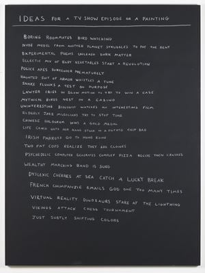 Ideas for a TV show episode or a painting by Scott Reeder contemporary artwork