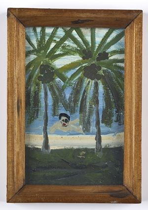 Man Swimming between Two Palm Trees by Frank Walter contemporary artwork