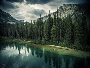 Pettit Lake Angler, Blaine County, Idaho by David Ondaatje contemporary artwork