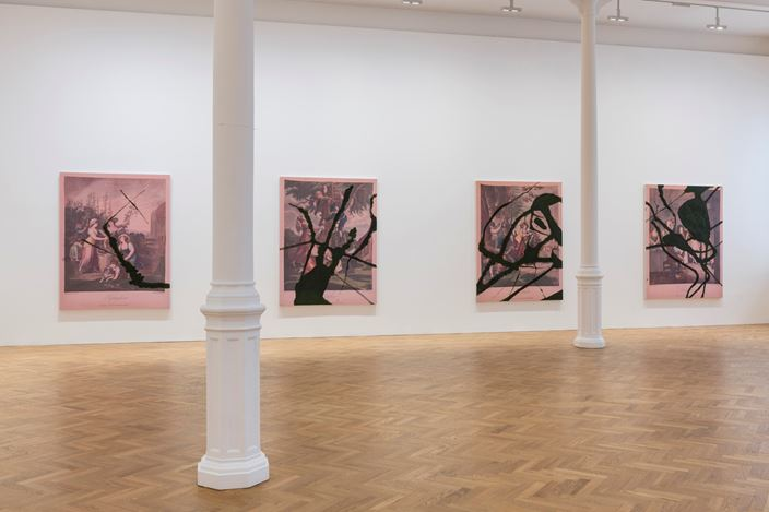 Exhibition view: Julian Schnabel, The re-use of 2017 by 2018. The re-use of Christmas, birthdays. The re-use of a joke. The re-use of air and water., Pace Gallery, London (17 May–22 June 2018). Courtesy Pace Gallery.