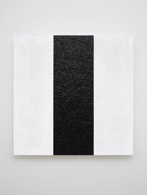 Untitled (White with Black Reflective Inner Band) by Mary Corse contemporary artwork