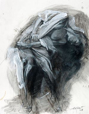 Study for Marie de l'incarnation by Ernest Pignon-Ernest contemporary artwork