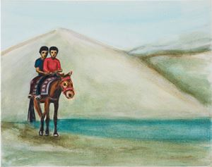 Two Boys on a Horse by Matthew Krishanu contemporary artwork