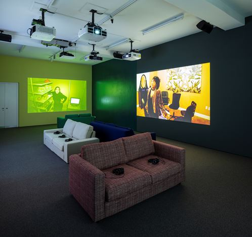 Exhibition view: Ryan Trecartin, Re'Search Wait'S, Sprüth Magers, Berlin (12 September2019–26 February 2020). Courtesy Sprüth Magers. Photo: Timo Ohler.