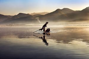 Intha Fisherman on Inle Lake, Burma by Steve McCurry contemporary artwork