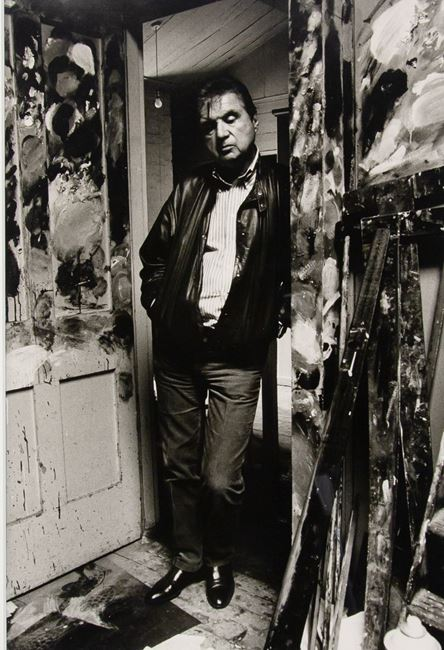 Francis Bacon standing in the doorway of his studio by Bruce Bernard contemporary artwork