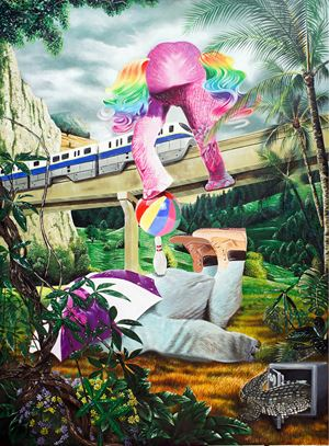 Pinky Rainbow in the Beautiful Day by Lugas Syllabus contemporary artwork