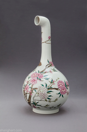 MadeIn Curved Vase - Famille-Rose Vase with a Straight Neck and Peach Blossom Design, Yongzheng Period, Qing Dynasty by XU ZHEN® contemporary artwork