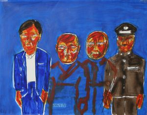 Standing People by Yongsun Soh contemporary artwork painting, works on paper