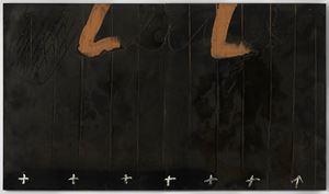 Díptic negre amb creus by Antoni Tàpies contemporary artwork