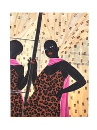 Self Check: Lady in pink scarf by Zandile Tshabalala contemporary artwork painting