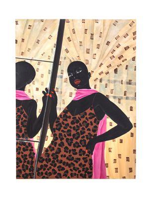 Self Check: Lady in pink scarf by Zandile Tshabalala contemporary artwork