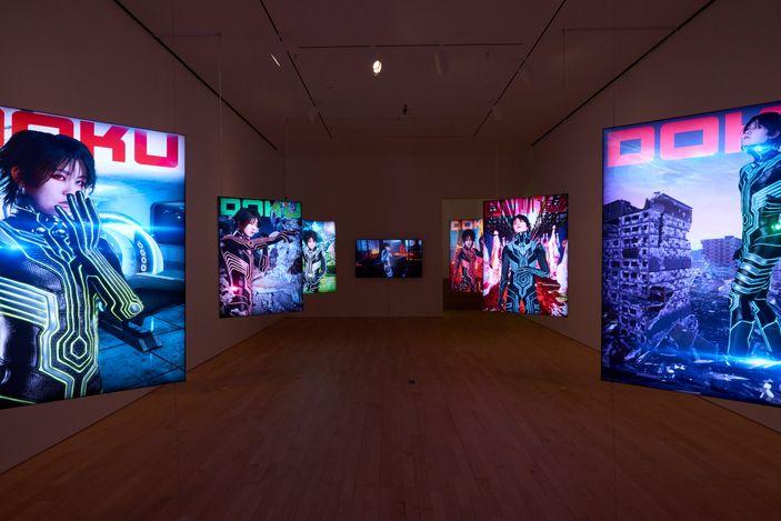 Exhibition view: Lu Yang, Doku: Digital Alaya, Jane Lombard Gallery, New York (7 May–19 June 2021). Courtesy Jane Lombard Gallery. Photo: Arturo Sanchez.