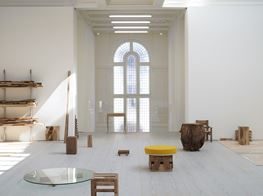 "Danh Vō<br><em>Cathedral Block, Prayer Stage, Gun Stock</em><br><span class=""oc-gallery"">Marian Goodman Gallery</span>"