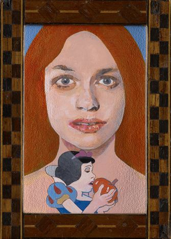 Petre Blake, Late Period.'Girl with a Disney Tattoo' 1(2020). Oil on wooden panel. 9.6 x 6.7 cm. Courtesy Waddington Custot.