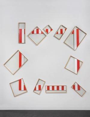A frame in a frame in a frame, N°39 Red - Aka by Daniel Buren contemporary artwork