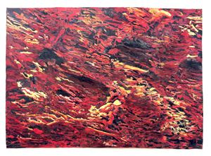 Orangegelbblaurot by Anette Kuhn contemporary artwork works on paper, drawing