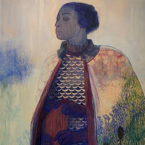 Pamela Phatsimo Sunstrum,The Knitter (2020) (detail). Pencil and oil on wood panel. Courtesy Goodman Gallery.