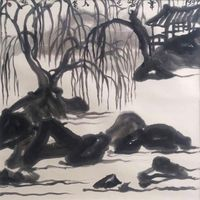 The Willow in Winter by Li Huasheng contemporary artwork drawing