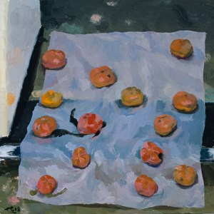 Persimmon on Wax Paper 蠟紙上的柿子 by Liu Xiaodong contemporary artwork