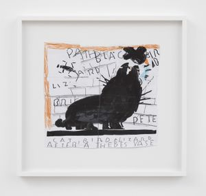 Black Cat (after a Thebes vase) by Rose Wylie contemporary artwork