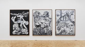 Contemporary art exhibition, Tobias Pils, 3 paintings 2 drawings 1 triptych at Eva Presenhuber, New York