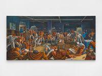 Bronco Locker Room by Ernie Barnes contemporary artwork painting