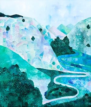 Landscape (Pink and Blue) by Sally Ross contemporary artwork