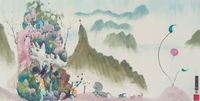 Untitled (Fantasy Landscape with White Rhinocerous) 《無題》(白犀牛的奇幻風景) by Luis Chan contemporary artwork works on paper