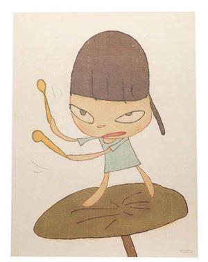 Marching on a butterbur leaf by Yoshitomo Nara contemporary artwork print