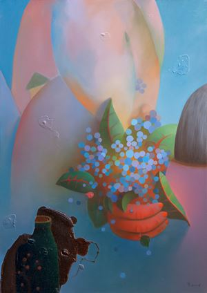 Hydrangea and green bottle by Chen Ke contemporary artwork