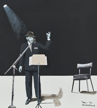 Frank Sinatra by Sam Nhlengethwa contemporary artwork mixed media