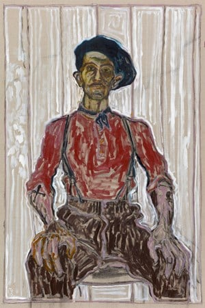 Self Portrait in Berret and Blue Scarf by Billy Childish contemporary artwork