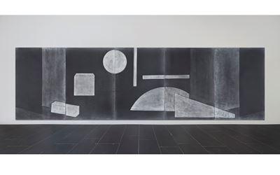 Silke Otto-Knapp, Stage (after Kurt Schwitters) (2017). Watercolour on canvas. 175.2 x 600.3 cm. Copyright Silke Otto-Knap, courtesy Taka Ishii Gallery.