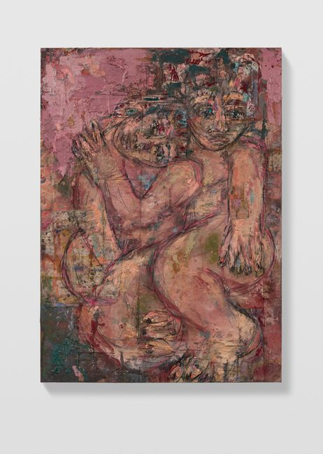 Couples 3 (pink and forest green) by Daniel Crews-Chubb contemporary artwork