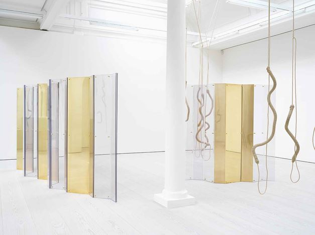 Exhibition view: Leonor Antunes, athousand realities from an original mark, Marian Goodman Gallery, London (24 May–20 July 2018). Courtesy Marian Goodman Gallery.