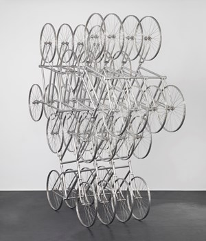 Forever (Stainless Steel Bicycles in Silvery)3 Pairs 4 Layers by Ai Weiwei contemporary artwork