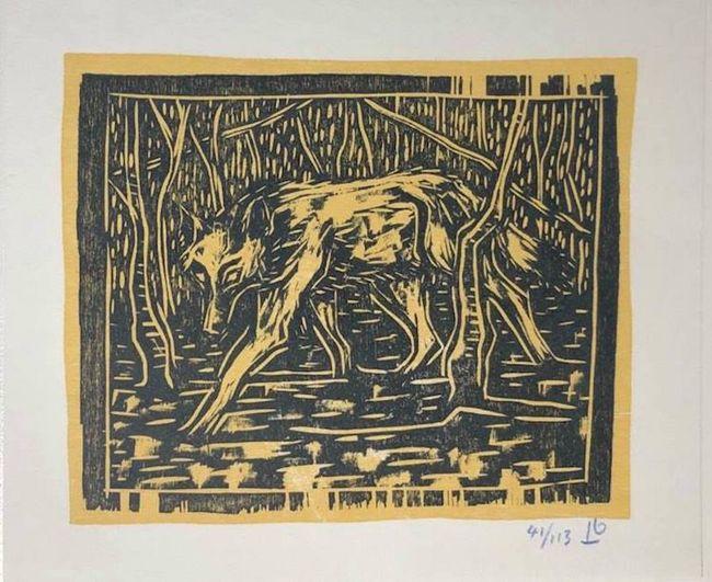 Wolf In Birchwood by Billy Childish contemporary artwork