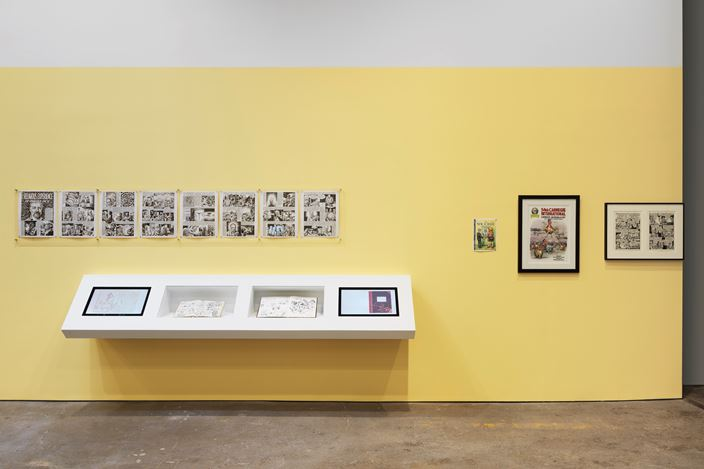 Exhibition view: R. Crumb,Drawing for Print: Mind Fucks, Kultur Klashes, Pulp Fiction & Pulp Fact,David Zwirner, 19th Street, New York (21 February–13 April 2019). CourtesyCourtesy David Zwirner.