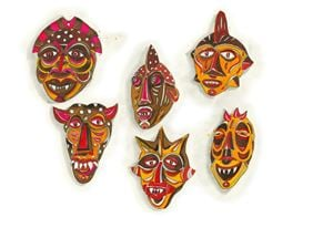Masks for sale in a carpet shop by Marcel Dzama contemporary artwork