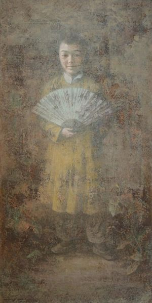 A Boy With A Fan by Wang Gang contemporary artwork painting