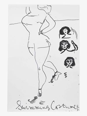 Swimig Costume&Heads by Rose Wylie contemporary artwork
