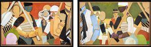 Series March: 1 Robert 1 Dennis & Gabriel & 2 Roberts 1 Dennis & No Gabriel by Jann Haworth contemporary artwork works on paper, drawing