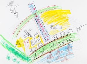 Drawing by Nam June Paik contemporary artwork works on paper, drawing