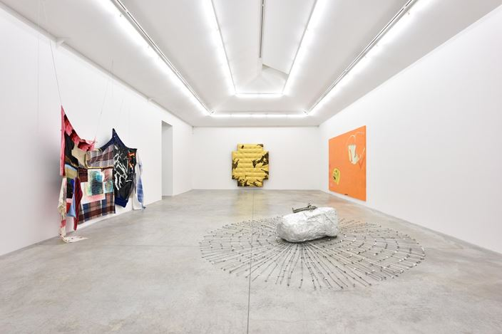 Eric Mack and Torey Thornton, Extensions Made To Trouble Transformation, Exhibition view, 2016, Almine Rech Gallery, Paris. © Eric Mack and Torey Thornton. Courtesy of the Artists and Almine Rech Gallery. Photo: Rebecca Fanuele.